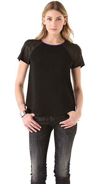 Rebecca Taylor Crepe Leather Tee