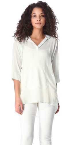 Rebecca Taylor Silk Hoodie Top at Shopbop.com