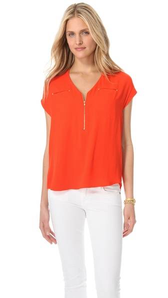 Rebecca Taylor Pebbled Crepe Tee
