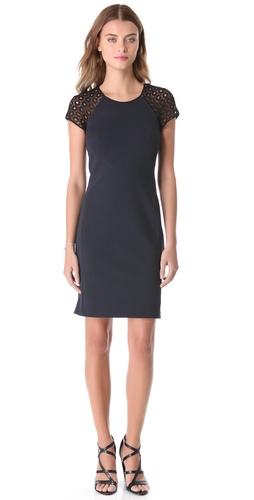 Rebecca Taylor Ponte & Lace Dress