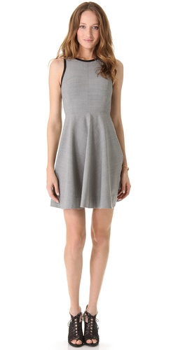 Rebecca Taylor Fit & Flare Dress With Leather Trim