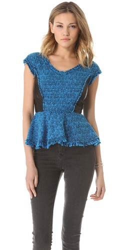Shop Rebecca Taylor Tweed V Neck Peplum - Rebecca Taylor online - Apparel,Womens,Tops,Blouse, at Lilychic Australian Clothes Online Store