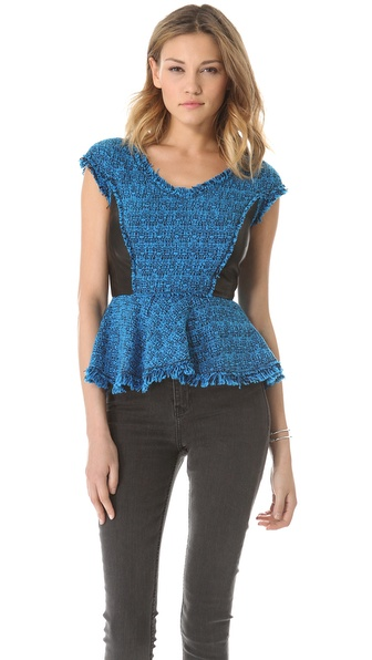 Rebecca Taylor Tweed V Neck Peplum