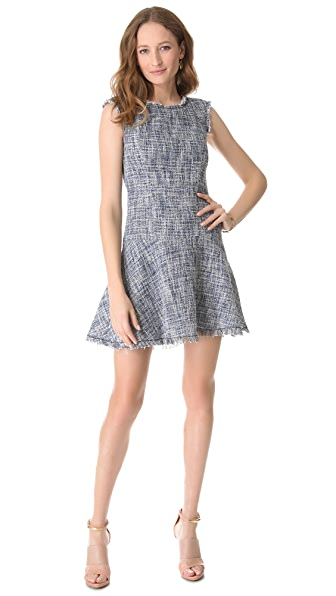 Rebecca Taylor Frayed & Flare Tweed Dress