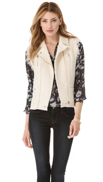 Rebecca Taylor Tweed Moto Vest