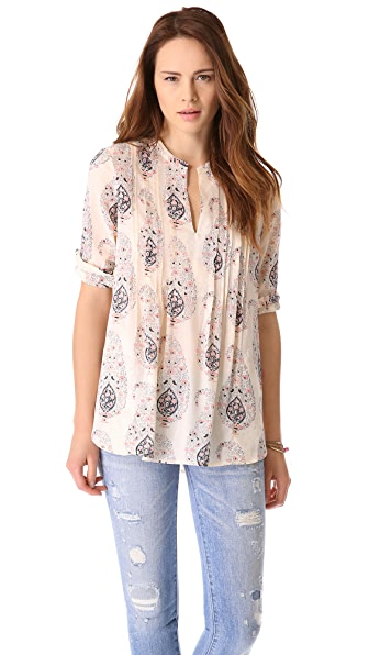 Rebecca Taylor Paisley Voile Pintuck Top