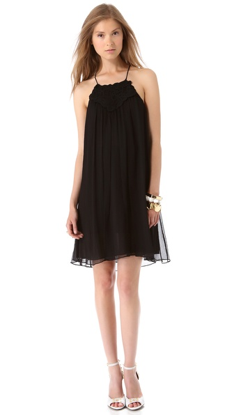 Rebecca Taylor Embroidered Halter Dress