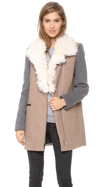 Rebecca Taylor Shearling Collar Wool Coat