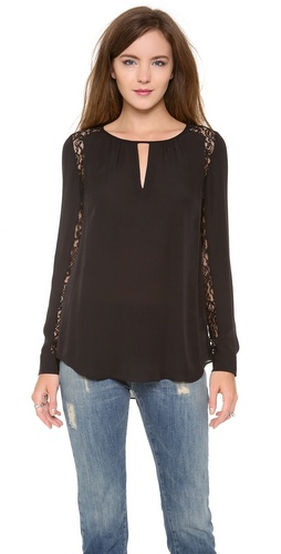 Rebecca Taylor Lace Inset Blouse at Shopbop / East Dane