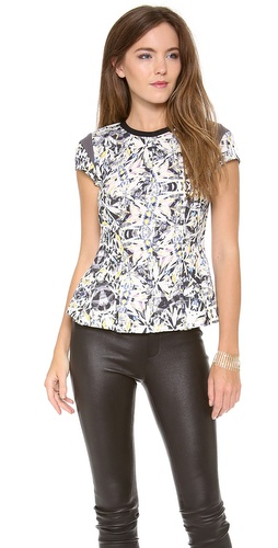 Rebecca Taylor Diamond Print Cap Sleeve Tee at Shopbop / East Dane