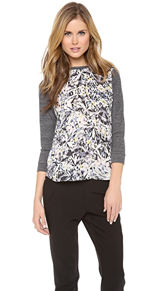 Rebecca Taylor Long Sleeve Diamond Printed Baseball Tee