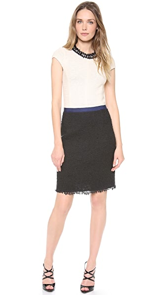 Rebecca Taylor Cap Sleeve Colorblock Tweed Dress