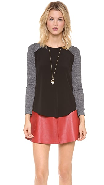 Rebecca Taylor Long Sleeve Baseball Tee