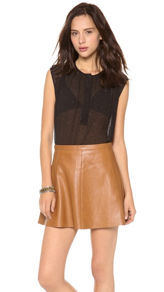Rebecca Taylor Sleeveless Metallic Clip Blouse