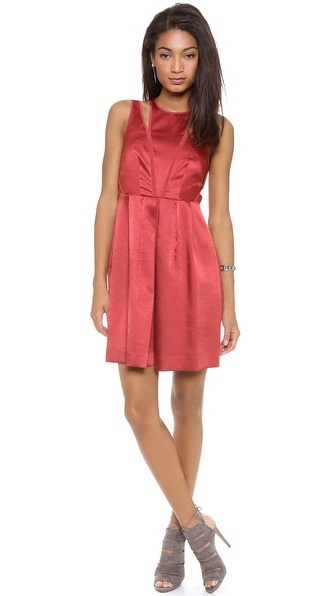 Rebecca Taylor Sleeveless Textured Satin Dress - Persimmon at Shopbop / East Dane