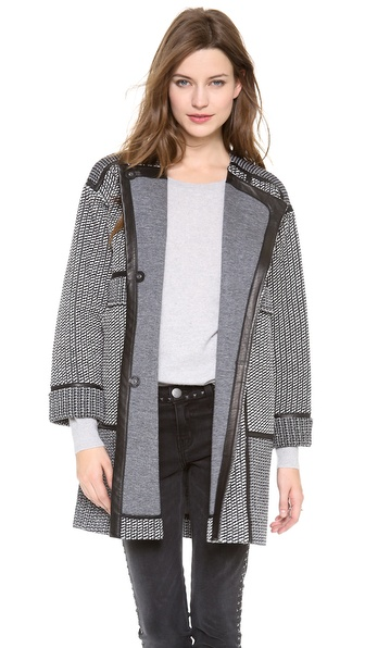 Rebecca Taylor Tweed & Leather Coat - Black/White at Shopbop / East Dane