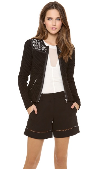 Rebecca Taylor Quilted Jacket - Black at Shopbop / East Dane
