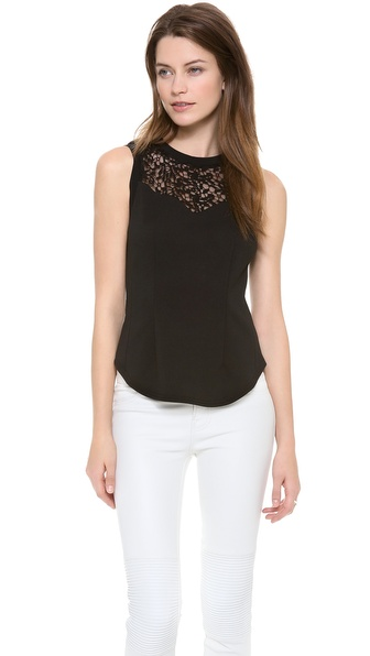 Rebecca Taylor Ponte & Lace Tank - Black at Shopbop / East Dane