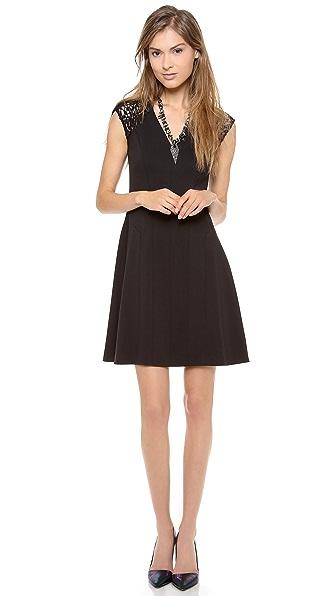 Rebecca Taylor Ponte & Lace V Neck Dress