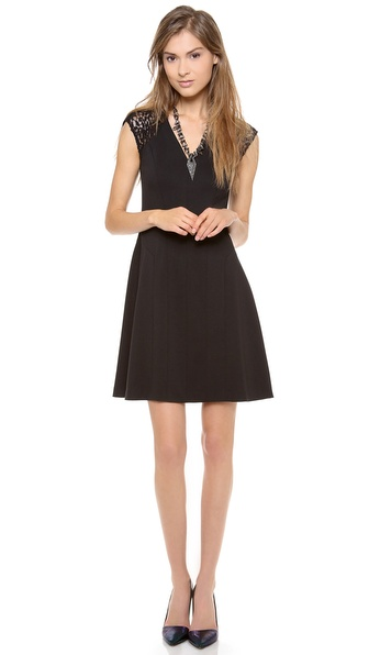 Rebecca Taylor Ponte & Lace V Neck Dress