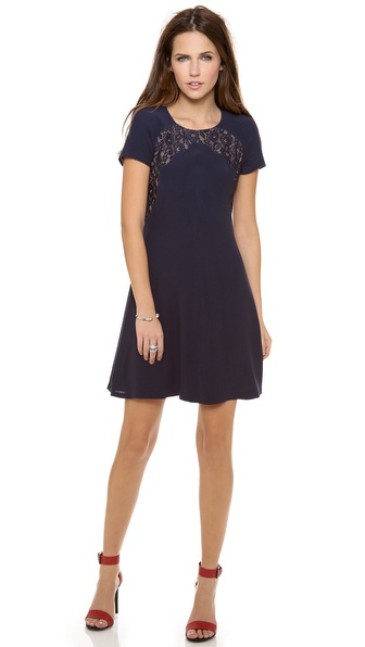 Rebecca Taylor Crepe & Lace Dress