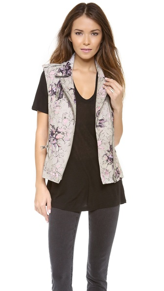 Rebecca Taylor Floral Leather Vest