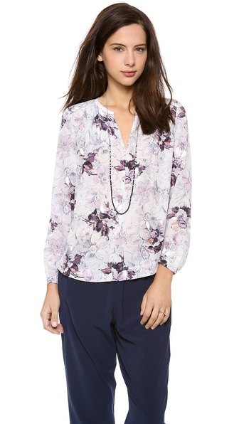 Rebecca Taylor Floral Print Blouse - Grey Combo at Shopbop / East Dane