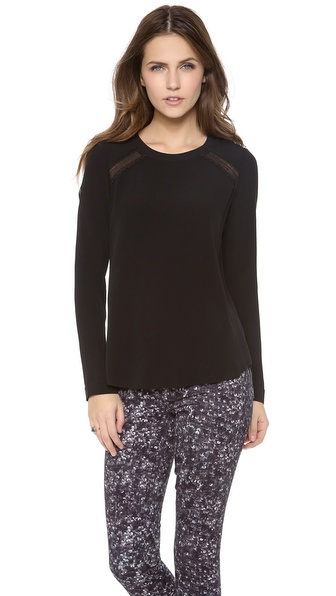Rebecca Taylor Lace Combo Blouse - Black at Shopbop / East Dane