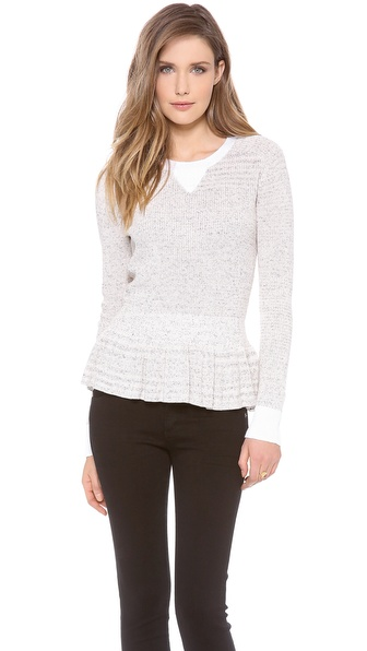 Rebecca Taylor Marled Peplum Pullover - Cream Combo at Shopbop / East Dane
