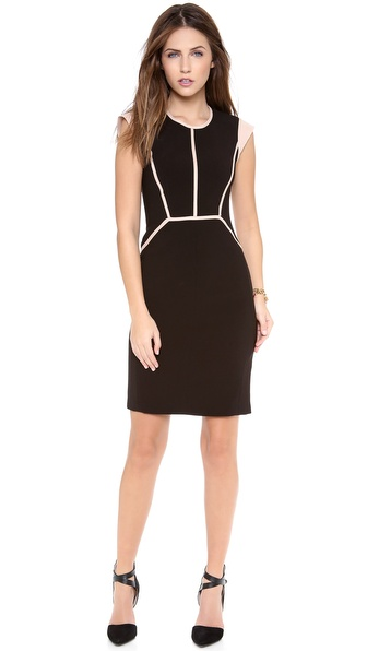 Rebecca Taylor Piped Cap Sleeve Dress - Black/Rose at Shopbop / East Dane