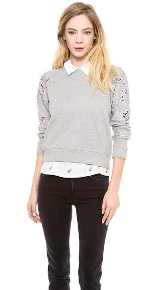 Rebecca Taylor Floral Cutout Sweatshirt