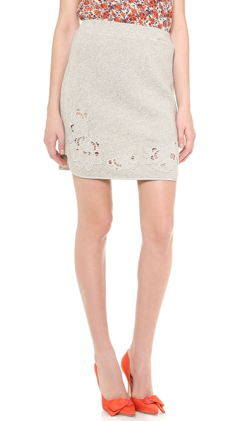 Rebecca Taylor Floral Cutout Skirt - Grey Melange at Shopbop / East Dane