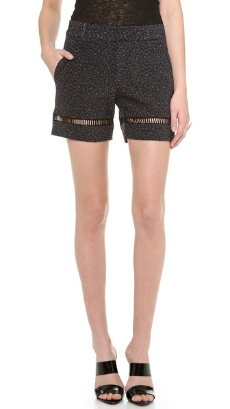 Rebecca Taylor Wildcat Print Shorts - Coal at Shopbop / East Dane
