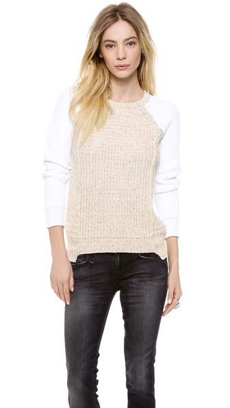 Rebecca Taylor Marl Blocked Pullover - Cream Combo at Shopbop / East Dane