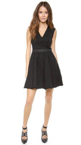 Rebecca Taylor Tweed & Ponte Dress - Black/Black at Shopbop / East Dane