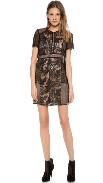 Rebecca Taylor Floral Lace Tee Dress - Black at Shopbop / East Dane