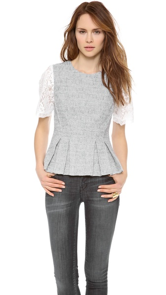 Rebecca Taylor Lace And Tweed Top - Shark at Shopbop / East Dane