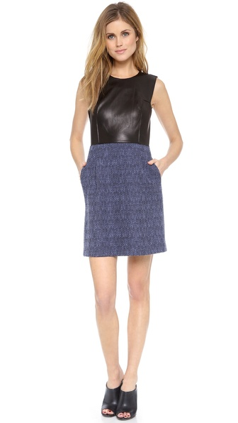 Rebecca Taylor Leather And Tweed Dress - Twilight at Shopbop / East Dane