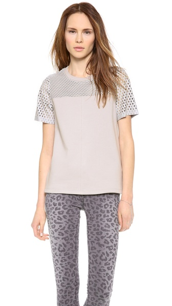 Rebecca Taylor Top With Perforated Leather Yoke - Thin Air at Shopbop / East Dane