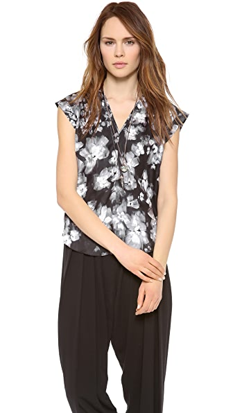 Rebecca Taylor Ghost Flower V Neck Top