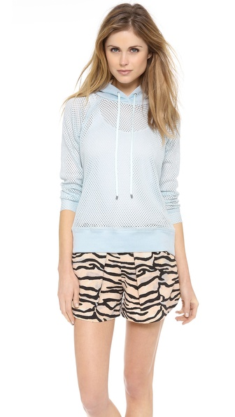 Rebecca Taylor Hooded Mesh Knit Pullover
