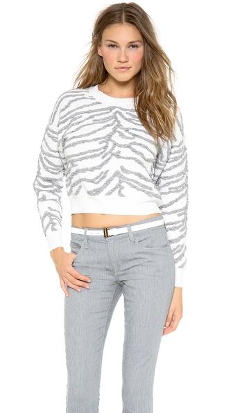 Rebecca Taylor Zebra Jacquard Sweater