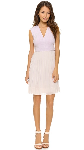 Shop Rebecca Taylor online and buy Rebecca Taylor V Neck Dress With Pleated Skirt - Wisteria - Pastel hues complement the delicate fabrication of a Rebecca Taylor dress. Accordion pleats add flirty swing to the silk chiffon skirt. Deep V neckline. Hidden back zip. Lined. Fabric: Linen suiting / silk chiffon. Bodice: 55% linen/42% viscose/3% elastane. Skirt: 100% silk. Lining: 100% polyester. Dry clean. Imported, China. COLOR: Please refer to still photos for accurate color representation . Measurements Length: 36in / 91.5cm, from shoulder Measurements from size 2. Available sizes: 4,10,12