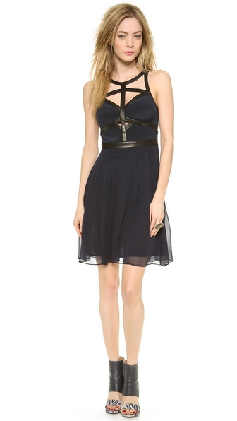 Rebecca Taylor Leather Caged Dress