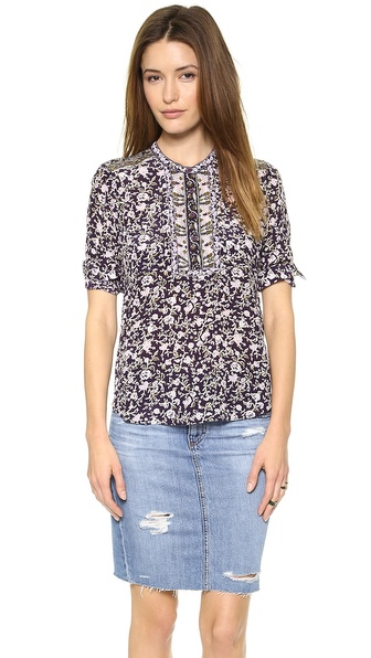 Rebecca Taylor Floral Double Placket Top