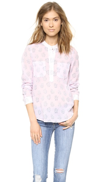 Rebecca Taylor Block Print Double Pocket Top