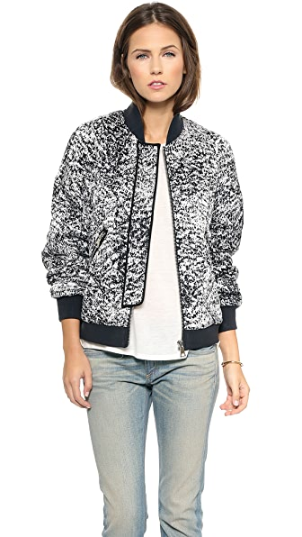Rebecca Taylor White Noise Print Flight Jacket