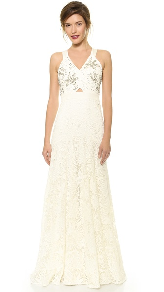Rebecca Taylor Embellished Lace Gown
