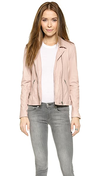 Rebecca Taylor Washed Leather Jacket - Nude