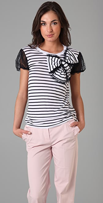 RED Valentino Puff Sleeve Tee with Bow